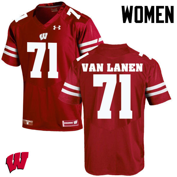 Women Wisconsin Badgers #71 Cole Van Lanen College Football Jerseys-Red